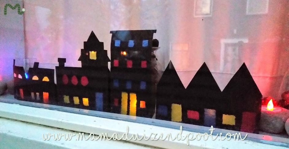 Huisjes van papier, een gezellige raamdecoratie