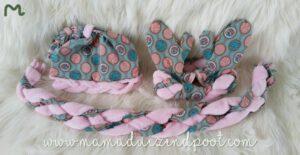 muts, haarband, sjaal en wanten (met vlecht)