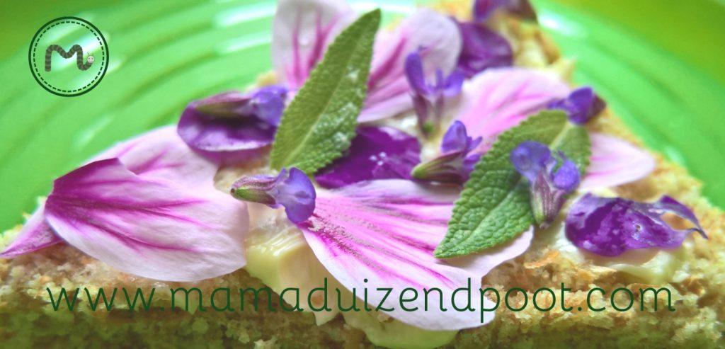 Een broodje eetbare bloemen