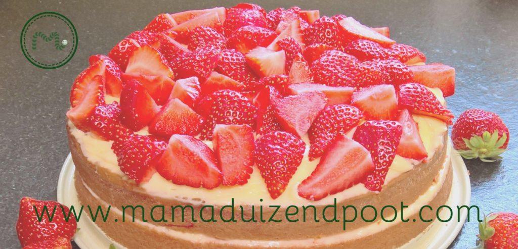 Een simpele aardbeientaart (gistvrij en lactosevrij)
