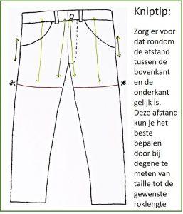 Knipvoorbeeld van een rokje uit een spijkerbroek