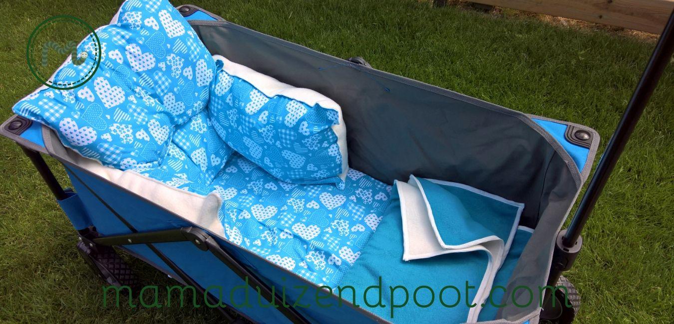 Matras, kussens en deken voor in de bolderkar