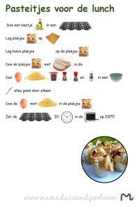 Pasteitjes voor de lunch, receptenblad