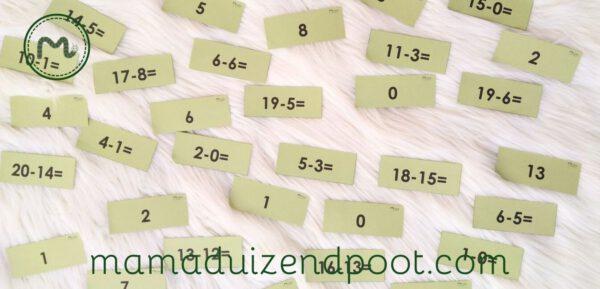 rekenboom flitskaarten (minsommen tot 20)