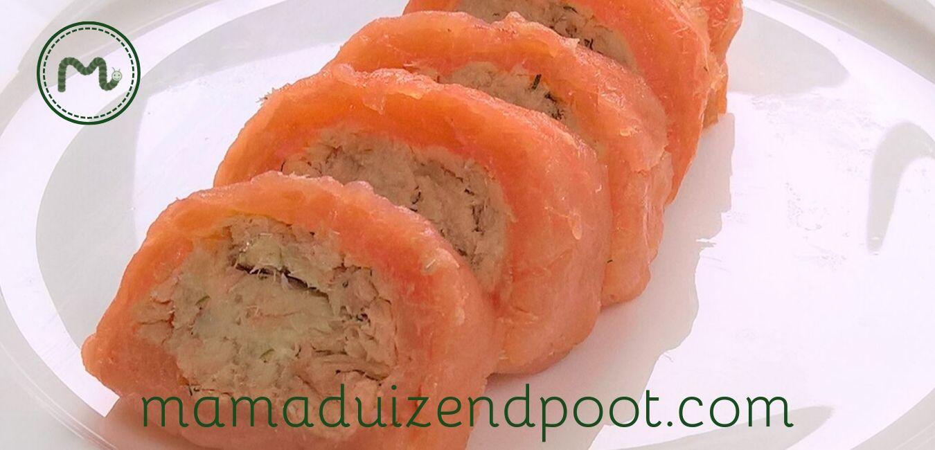 Rolletjes van zalm en makreel