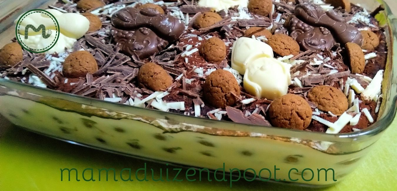 sinterklaas tiramisu met pepernoten en chocoladeletter