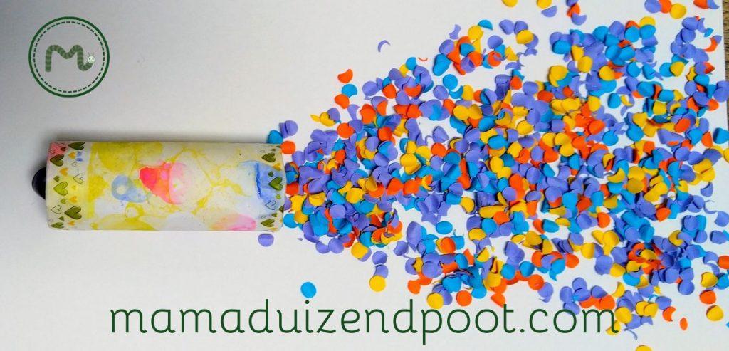Een confetti kanon van een wc rolletje
