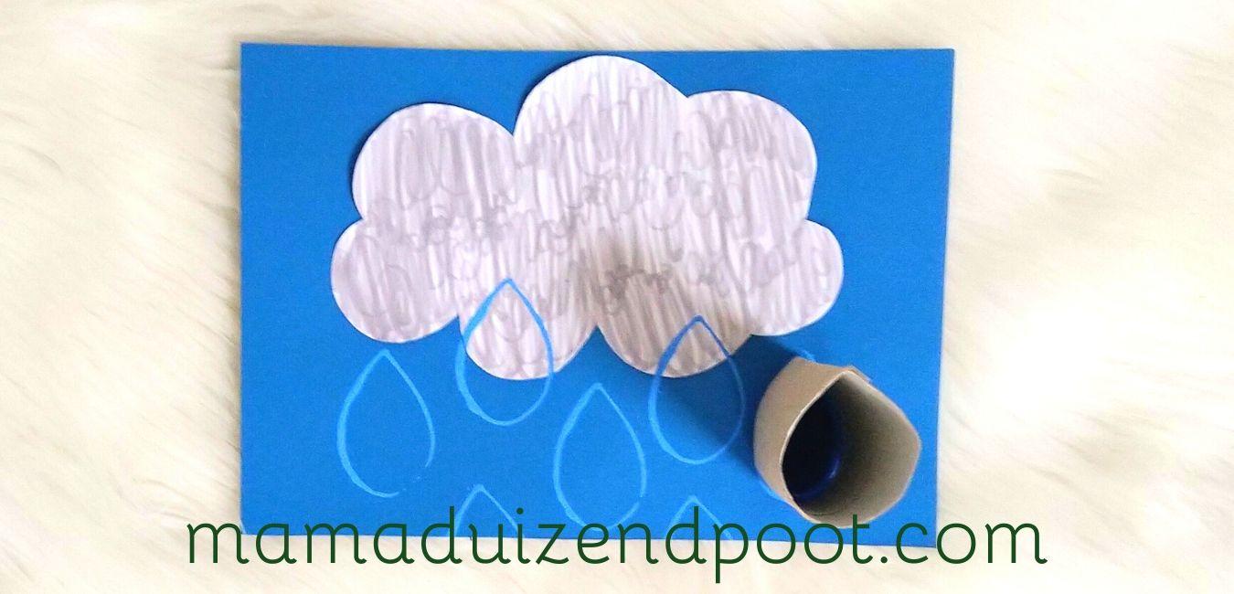 regen stempelen met een wc rolletje