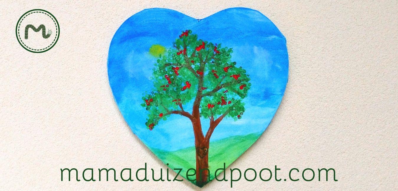 een boom verven met wattenstaafjes