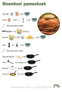 receptenblad - bloemkool pannenkoek