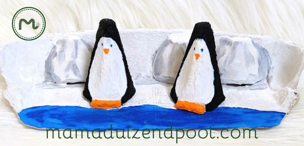 Pinguins van een eierdoos