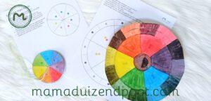 Kleurencirkel en witte regenboog proef