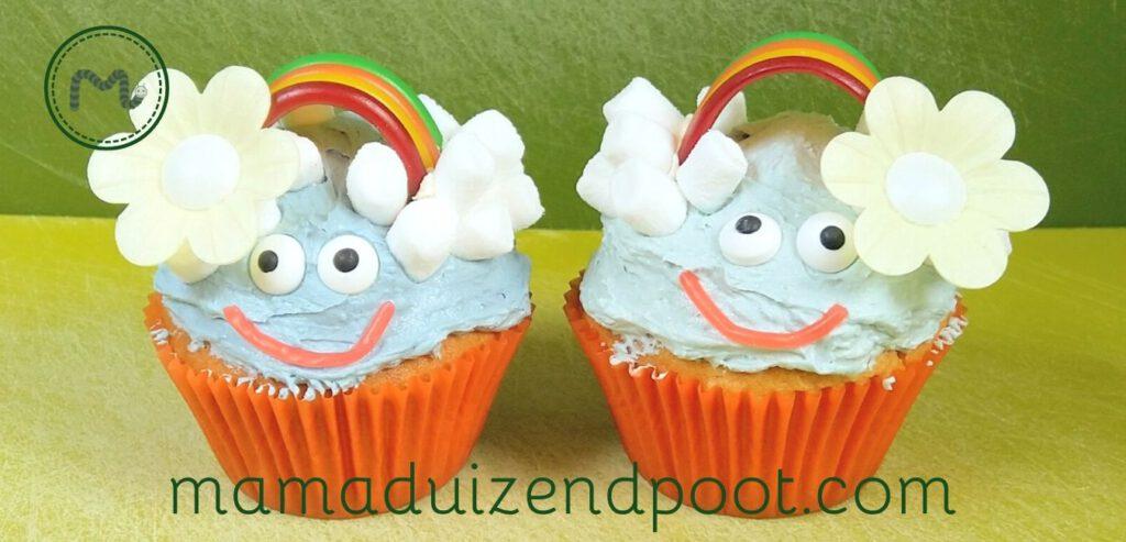 Een regenboog cupcake