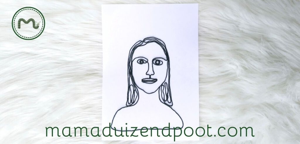 Een zelfportret van draad