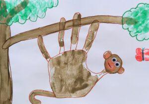Wilde dieren van een handafdruk - aap