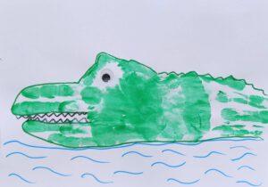 Wilde dieren van een handafdruk - krokodil