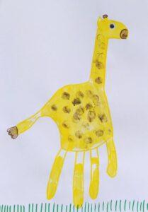 Wilde dieren van een handafdruk - giraf