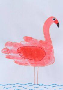 Wilde dieren van een handafdruk - flamingo