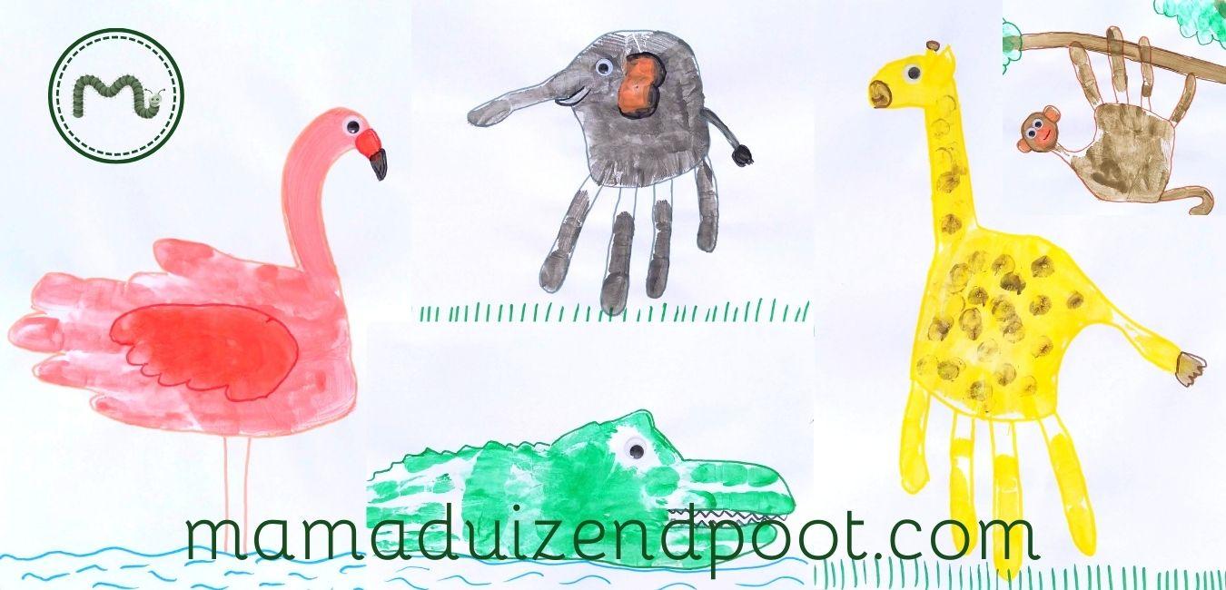 Wilde dieren van een handafdruk
