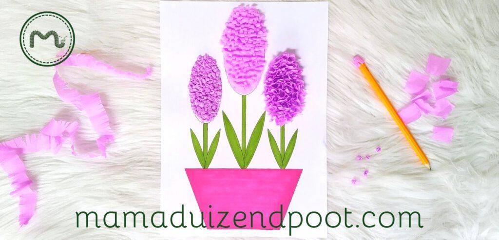 3x Een hyacint van crêpe papier