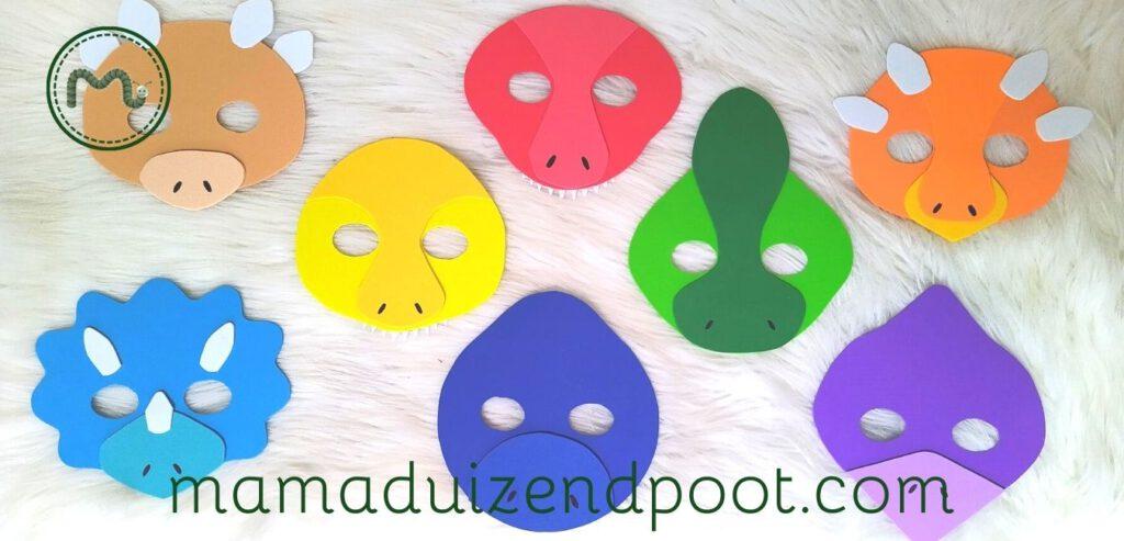 Dino maskers maken voor een kinderfeestje